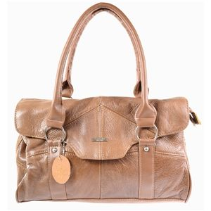 Ladies Leather Shoulder Bag / Handbag with Folder Over Flap and Magentic Clasp (Tan)