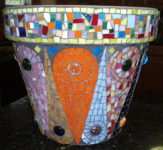 Mosaic Flower Pot Floral Stained Glass Yard Art Design Colorful ...