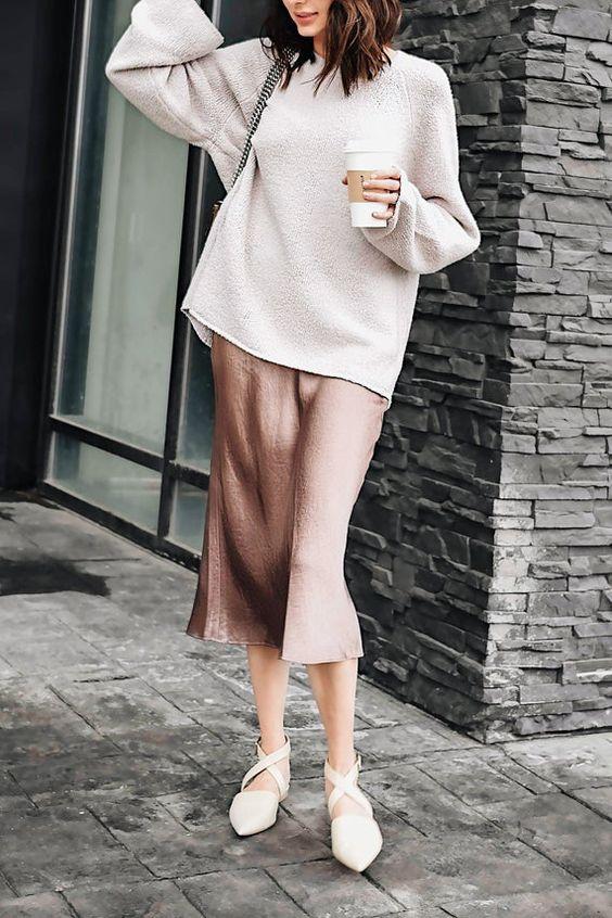 Silk slip skirt midi Cappuccino silk satin skirt Silk slip bias cut dust pink skirt Rose slip skirt