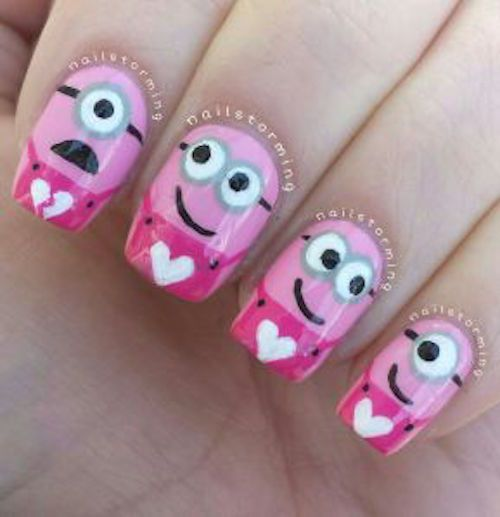 Minion Valentine Nails - now this is plain CUTE! It looks easy enough to try. Click the picture for her great step-by-step directions.