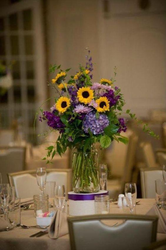 Wedding day jars and purple hydrangeas