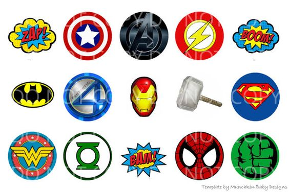 INSTANT DOWNLOAD Superhero 4x6 Bottle Cap Images Digital Collage Sheet for bottlecaps hair bows bottlecap images