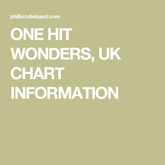 ONE HIT WONDERS, UK CHART INFORMATION