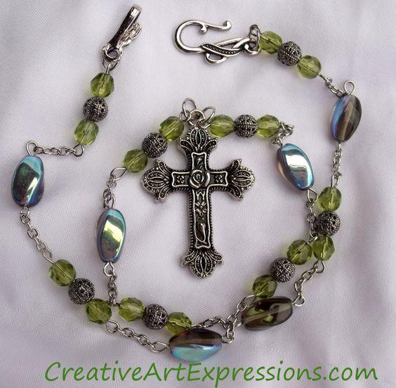 Creative Art Expressions Handmade Green & Silver Prayer Beads Necklace Jewelry Design #PrayerBeads