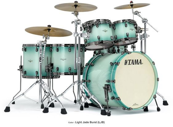 Tama Drum's Starclassic Bubinga in beautiful Light Jade Burst finish and Black Nickel hardware