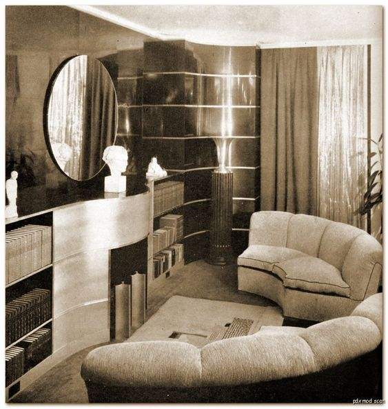1930s streamline moderne and living rooms on pinterest for Art deco sitting room