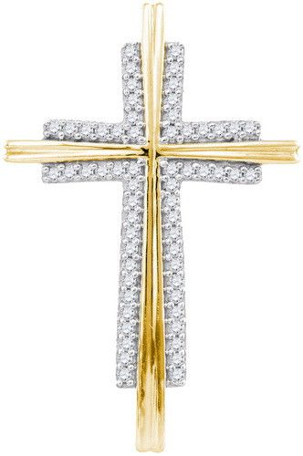 10k Yellow Gold 0.14 ctw Diamond Cross Micro Pave Pendant