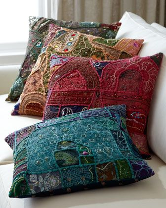 """Vintage Sari Pillow at Horchow."" I would love these. I would have to have them as cushions because I don't think I could cut up vintage saris. S"