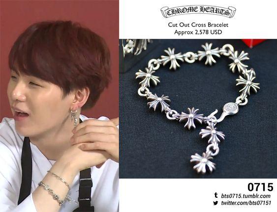190108 | Yoongi : Run BTS! 2019 - EP.58 Chrome Hearts - Cut out cross bracelet
