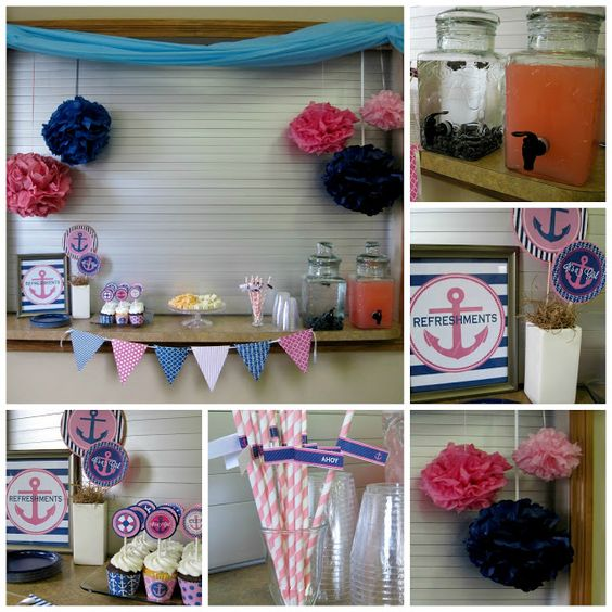 anchors away cute girly preppy navy pink party or baby. Black Bedroom Furniture Sets. Home Design Ideas