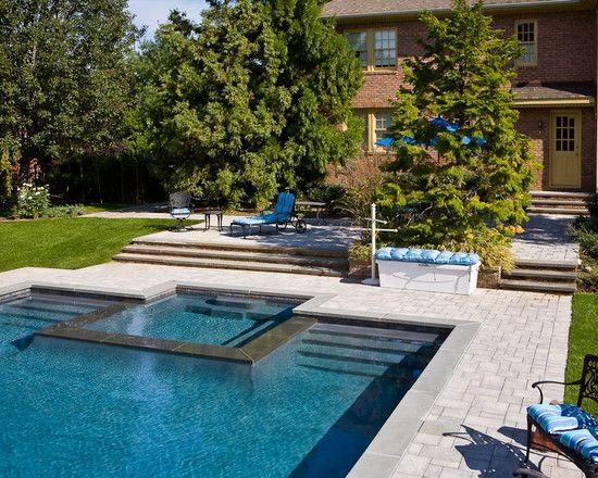 inground negative edge swimming pool travertine coping and stamped concrete decking award winning swimming pools pinterest stamped concrete
