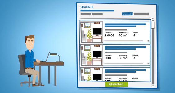 Traumwohnung in übersichtlicher Datenbank finden und mit einem Klick darauf bewerben. Erhält der Mieter eine Einladung, muss er nur noch den vorgeschlagenen Termin bestätigen.