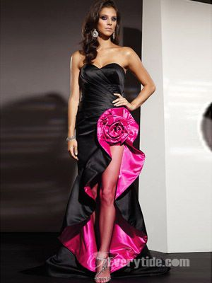 Sexy Trumpet / Mermaid Sweetheart Asymmetrical Elastic Woven Satin Black Prom Dress / Evening Dress 2011