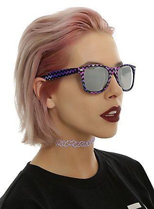 Galaxy Chevron Smoke Lens Retro Sunglasses,