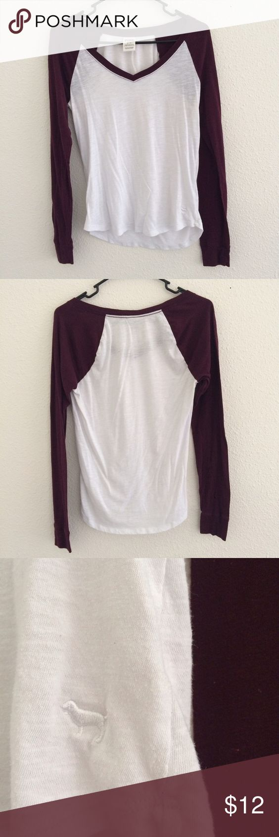PINK Baseball Tee Victoria's Secret Pink baseball tee. Super cute and feminine cut with the v-neck. Maroon sleeves. In perfect condition with no rips, tears, or stains. Bundle & save. 😊 PINK Victoria's Secret Tops Tees - Long Sleeve