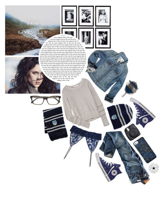 """""""I do not know how i got here but i refuse to stay. I betrayed myself when i let others have their way. // Everyday 4 // Ravenclaw // Hogwarts // Harry Potter"""" by saffire9975 ❤ liked on Polyvore featuring Emilio Pucci, Fuji, Converse, T By Alexander Wang, Eichholtz, Boston Proper, FOSSIL, MSGM and H&M"""
