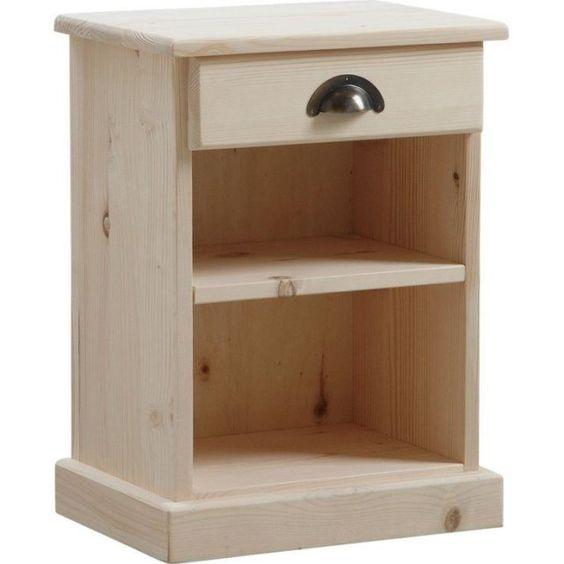Table de nuit bois brut 1 etagère 1 tiroir
