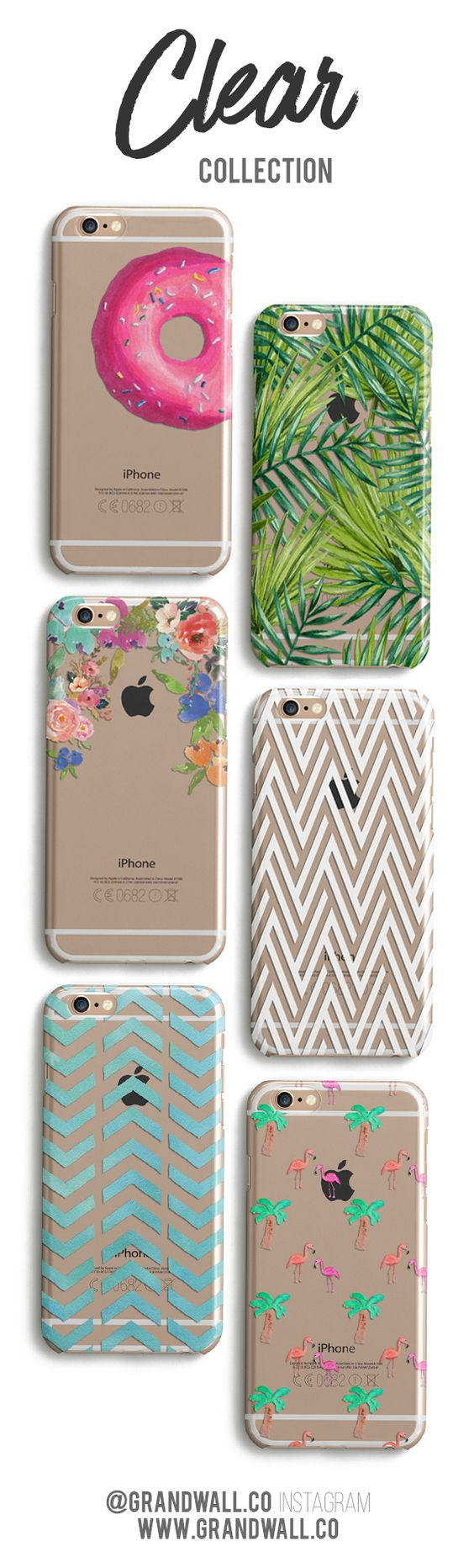 """Use Code """"PINTEREST"""" for 10% off these exclusive @grandwall designs here: http://grandwall.co/collections/clear-phone-cases"""
