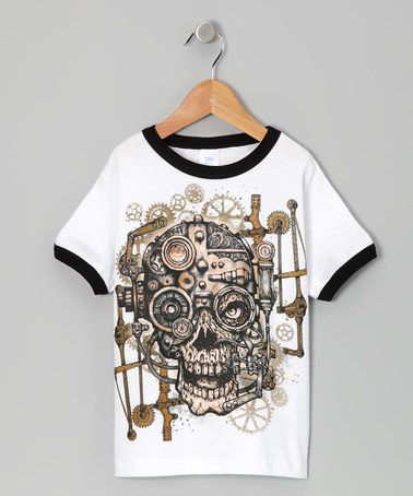 Take a look at this White & Black Skull Tee - Toddler & Boys by Micro Me on #zulily today!