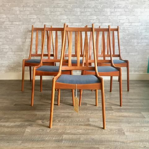 Mid Century Danish Solid Teak High Back Dining Chairs With Images