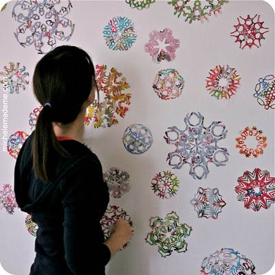 recycled junk mail snowflakes