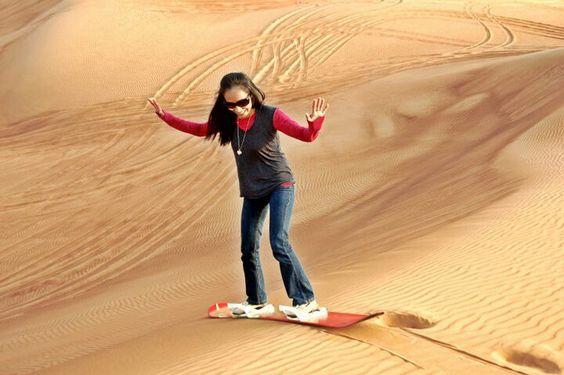 Sandboarding at Dubai Desert