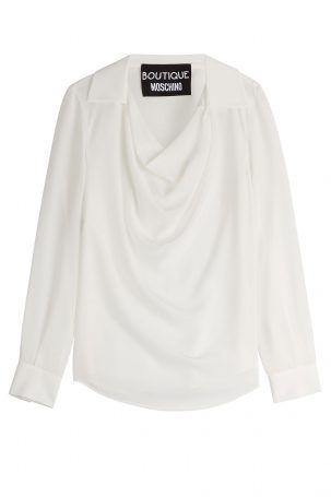 Boutique Moschino Boutique Moschino Seidenbluse mit Drapierung – Weiß