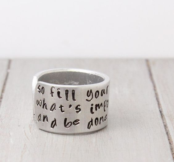 Inspiration Ring Quote Ring Custom Stamped Ring por PureImpressions, $18,49