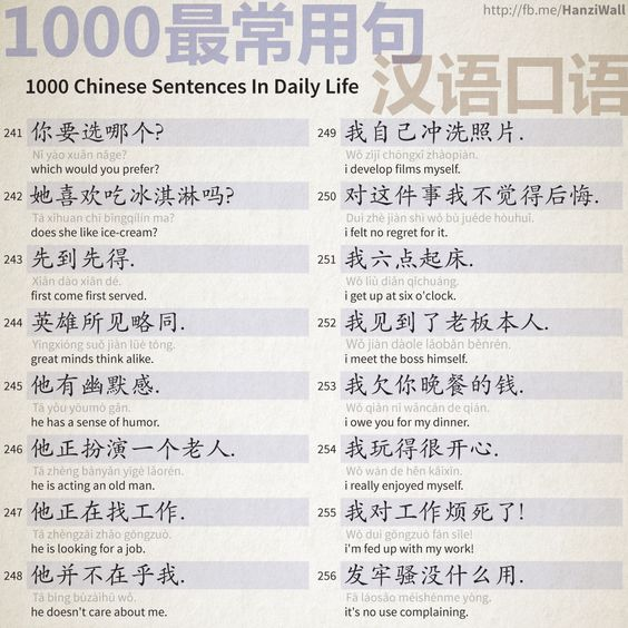1000 Chinese Sentences In Daily Life Part 16