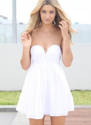 White Strapless Dress with Plunging Lace Cup Bodice Top- Dress ...