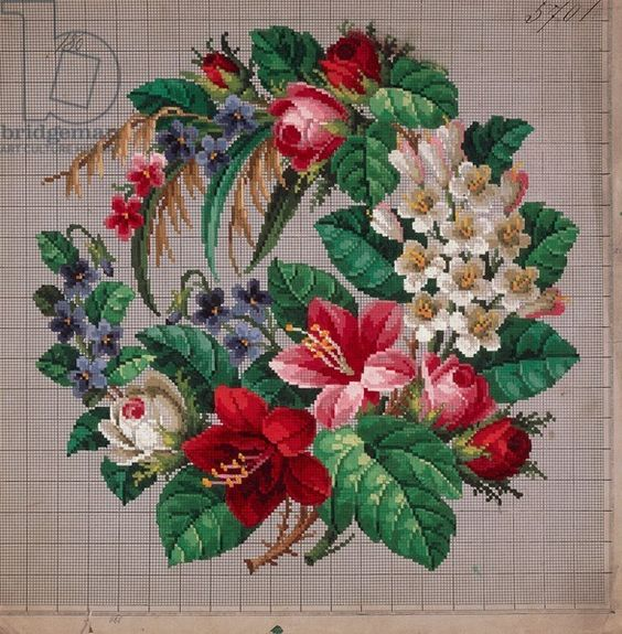 Bunch of roses embroidery design, violets, lilies and hawthorn, 19th century: