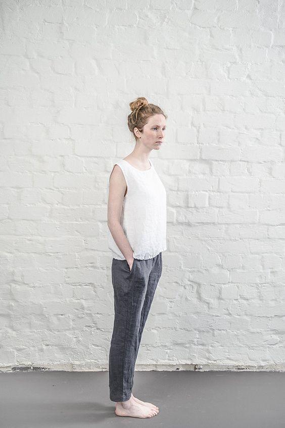 Kohle / warm schwarze Leinen Hose / Leinenhose von notPERFECTLINEN