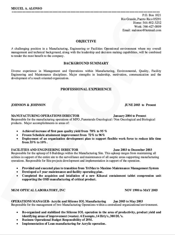 Manufacturing Director Resume Sample -    resumesdesign - resume for manufacturing