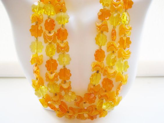 West Germany Orange Triple Strand Lucite Necklace 1950s Vintage Designer Jewelry Multi Strand Necklace Spring Vintage Jewelry Mother's Day