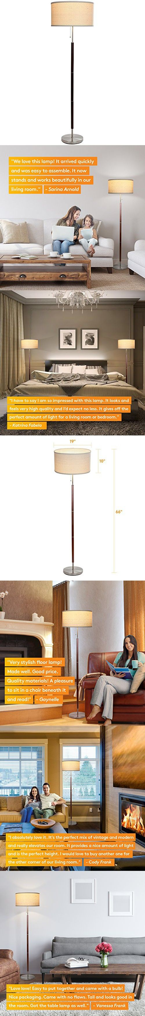 Brightech Carter Led Mid Century Floor Lamp Modern Living Room Standing Pole Light Tall Drum Shade Uplight And Downlight With Walnut Wood Finish Modern Floor Lamps Mid Century Floor