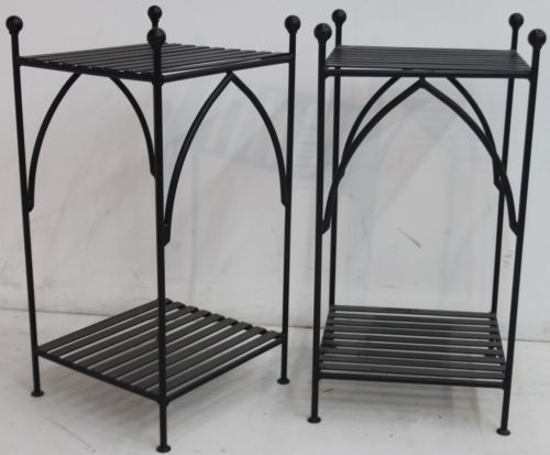 2 X WROUGHT IRON BED COMPANY Black Handmade Gothic