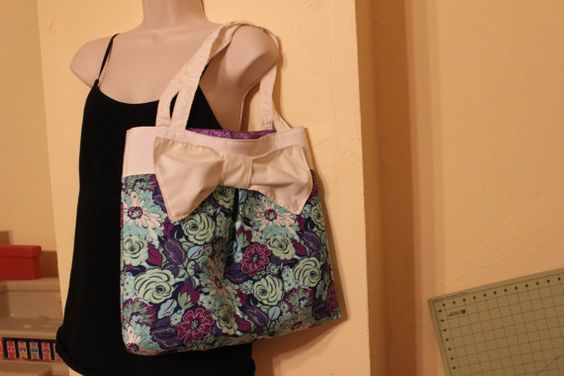 Blue and purple flowered bow purse/tote by Sewmanydeals on Etsy, $20.00