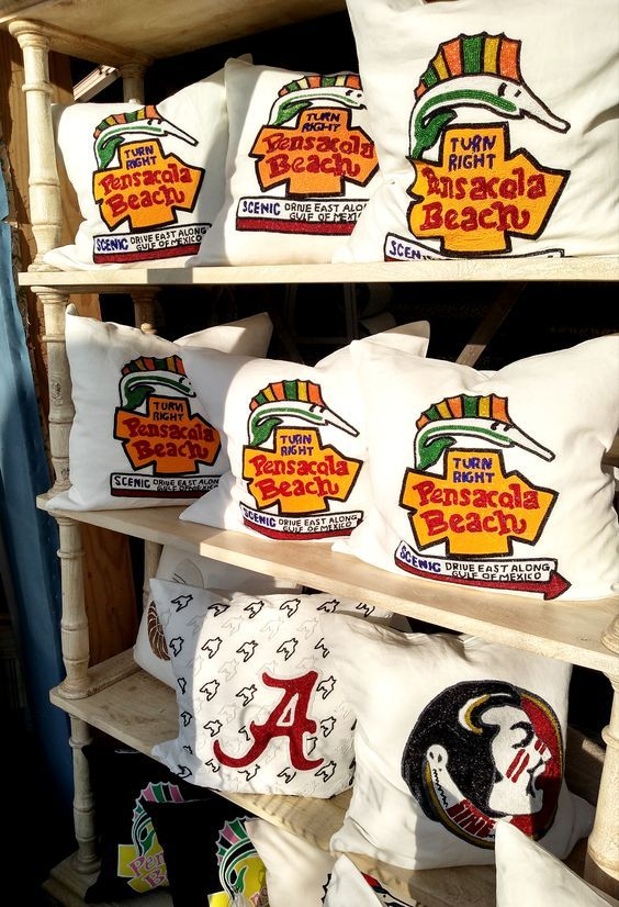 Limited Stock Available Pensacola Beach Pillows At Garden Street Fabrics Pensacola Beach Pillows Fabric Store Beaded Pillow