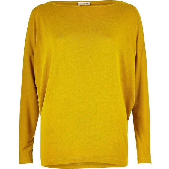 River Island Dark yellow batwing top (1.065 CZK) ❤ liked on Polyvore featuring tops, t-shirts, plain t-shirts / tanks, t shirts / tanks, women, yellow, round neck top, cut-out shoulder tops, yellow top and yellow tee