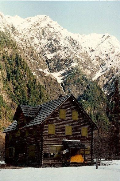 Enchanted Valley Chalet; hiked in and stayed here around 1976.  There were bears outside at night, but during the day we hiked up to the pools above and skinny-dipped!!  It was great until a boyscout troop walked by.