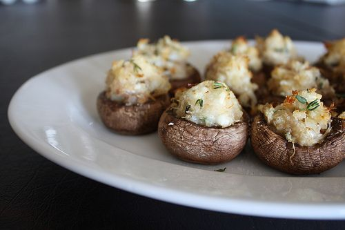 crab and goat cheese stuffed mushrooms
