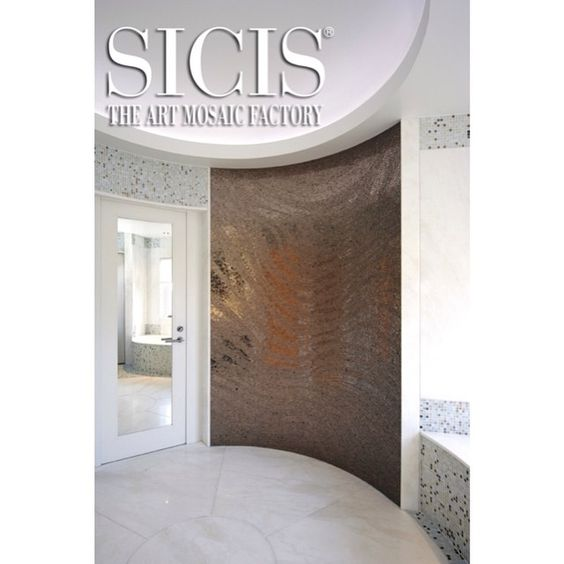 Sicis Curved Wall: SICIS Platinum Wave #sicis #mosaic #art #design #luxuryhomes #luxurydesign