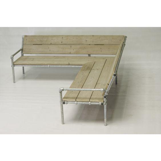 Lounge hoekbank van steigerbuizen en steigerhout my for Steigerhout hoekbank bouwtekening