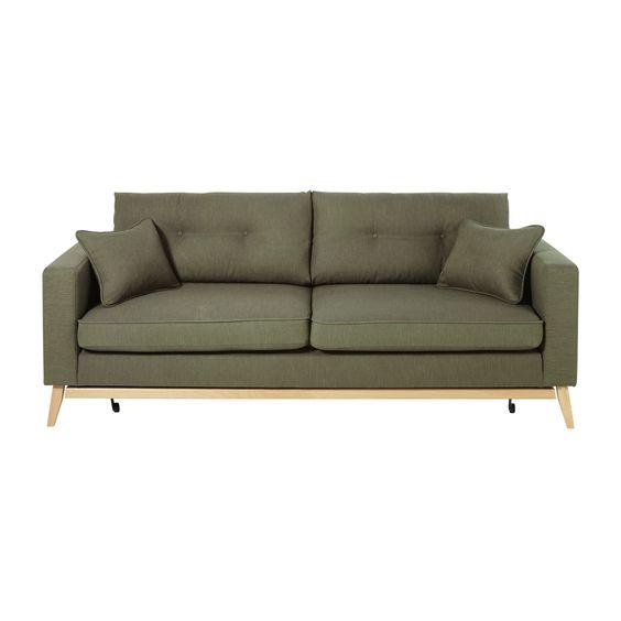Canape Le Jour Lit D Appoint La Nuit Offrez Vous Le 2 En 1 Avec Le Canape Lit Style Scandinave 3 Places Vert Kaki Brooke Schlafsofa Sofa Vintage Sofa
