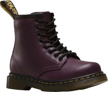Dr. Martens: Kids Brooklee Lamper Boot Toddler/Little Kid (Purple) The Brooklee by Dr. Martens is an adorable pint size reproductions of the 1460 8-eye popular boot. The Brooklee offers a sturdy, yet flexible sole combined with soft and durable leather for all day comfort and support. The 1460 boot style has a side zip, as well as laces, to help get them on and off little feet quickly and easily.