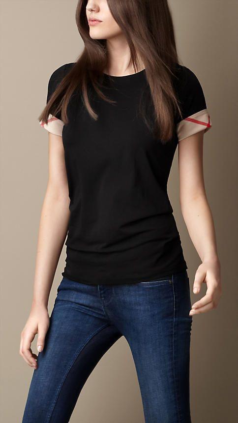 Burberry - T-Shirt aus Baumwollstretch mit Check-Bündchen (Schwarz) - 115,00 €