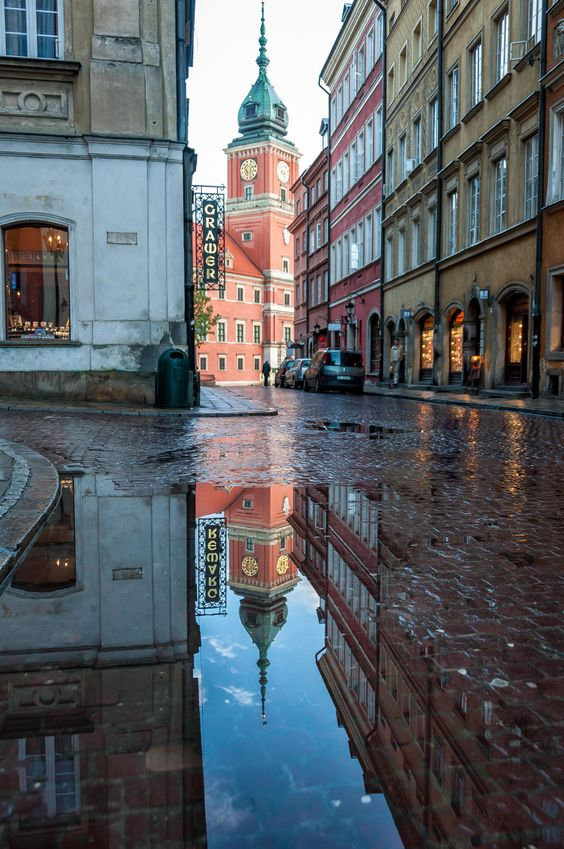 Old Town Warsaw - After the rain, in old town Warsaw Poland.