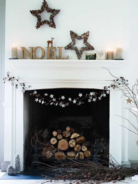 String Lights For Mantelpiece : christmas mantle - neutral colors, stars.... would be pretty with a string of lights Christmas ...
