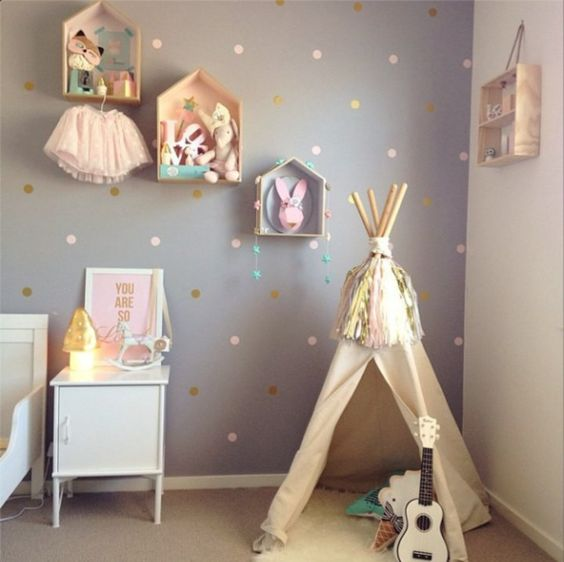Love these colours pastel pink, grey and gold for a girls room