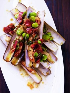 Razor Clams with Jamon & Broad Beans